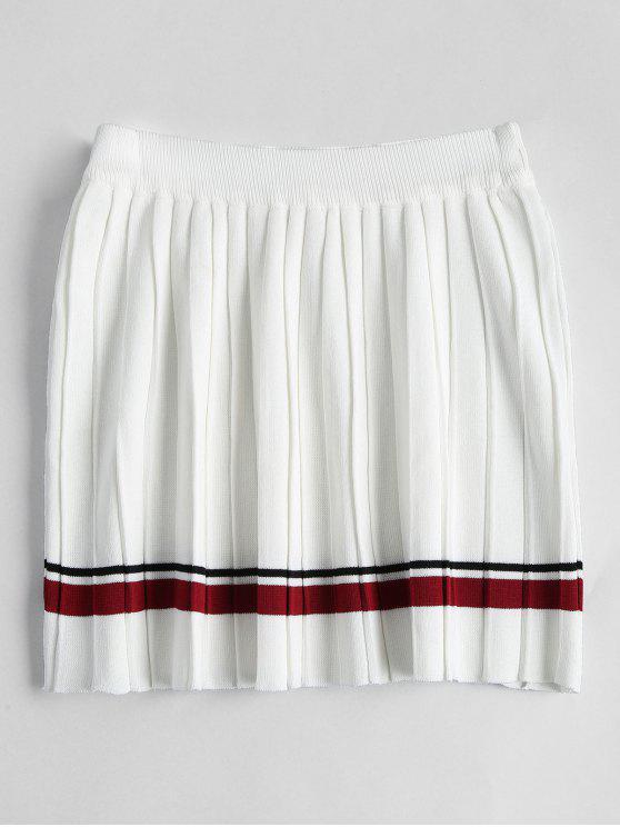 Saia plissada listrada de cintura alta - Branco Tamanho único