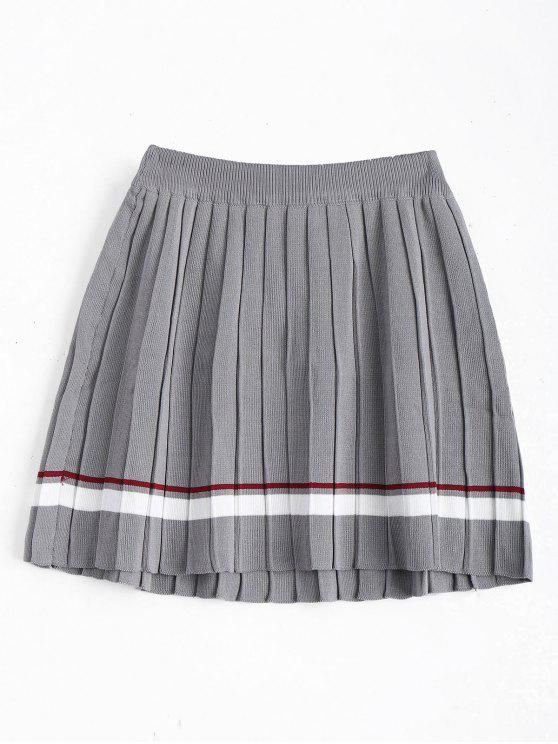 High Waist Striped Pleated Skirt GRAY: Skirts ONE SIZE | ZAFUL