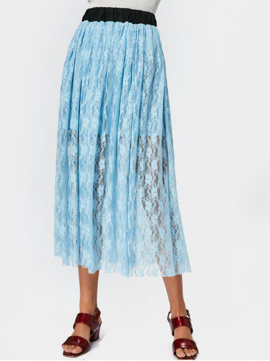 chic Elastic Waist Lined Lace Maxi Skirt - LIGHT BLUE S