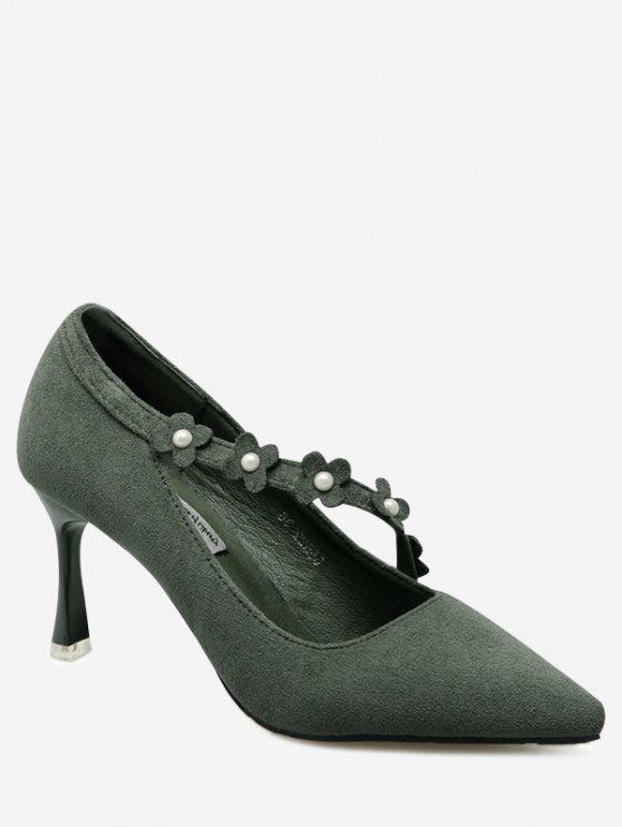 Faux Pearls Flowers Pointed Toe Pumps - Verde 38