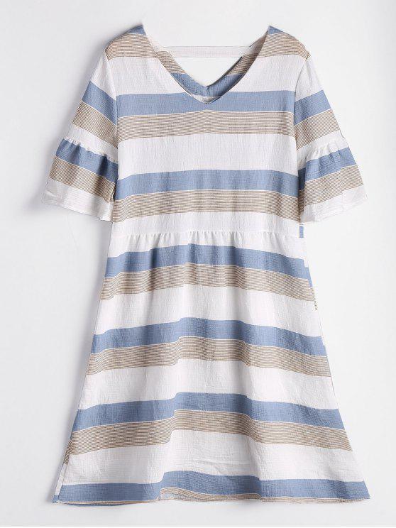 فستان مخطط ذو فتحات توهج الأكمام - غائم XL