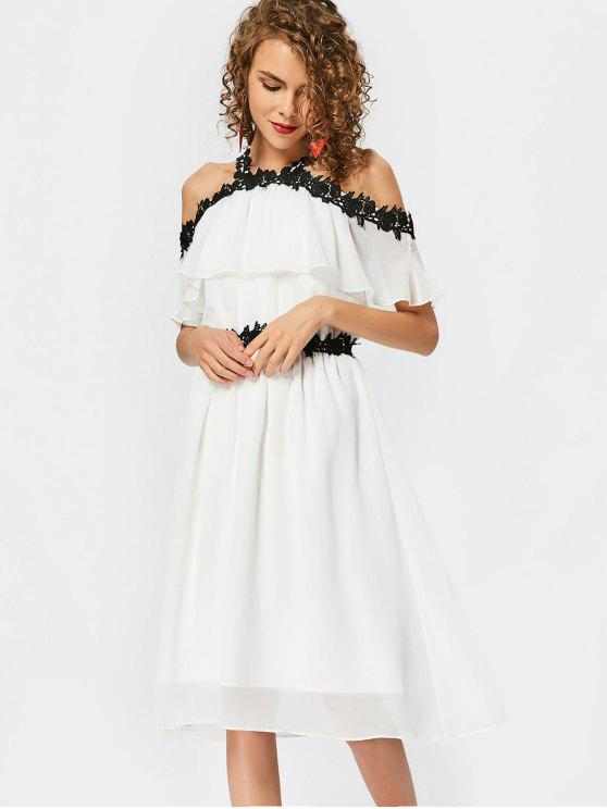 Lace Trim Cold Shoulder A Line Dress - Blanc S