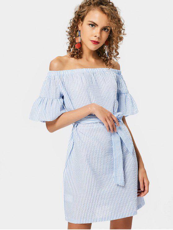 Striped Belted Off Shoulder Mini Dress - Rayure M