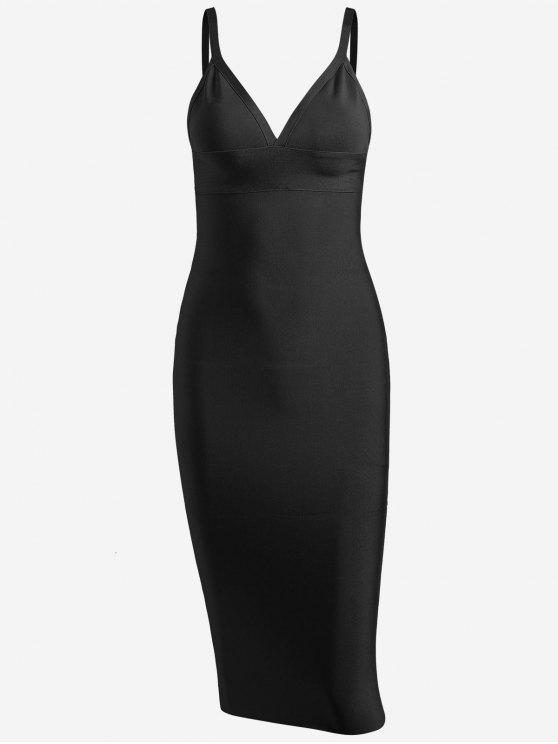 women Zippered Cami Fitted Dress - BLACK M