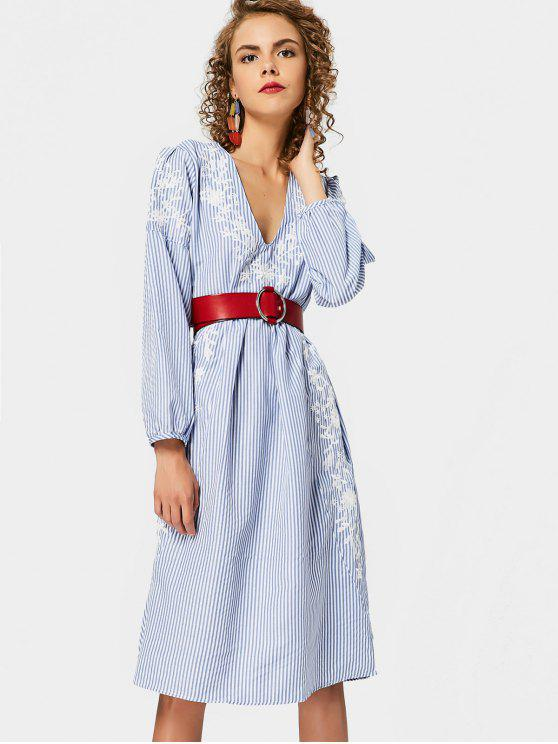 fashion Long Sleeve Embroidered Stripes Shift Dress - STRIPE L