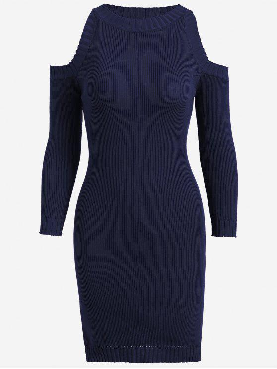 online Knitting Slit Cold Shoulder Pencil Dress - PURPLISH BLUE ONE SIZE