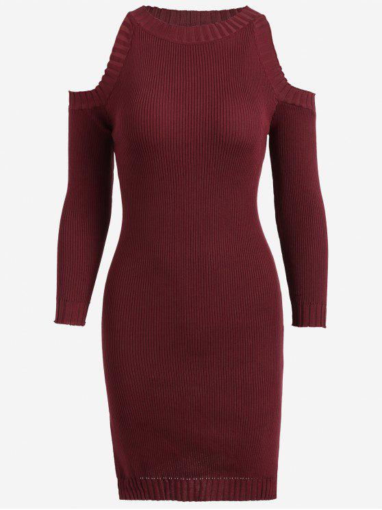 hot Knitting Slit Cold Shoulder Pencil Dress - WINE RED ONE SIZE