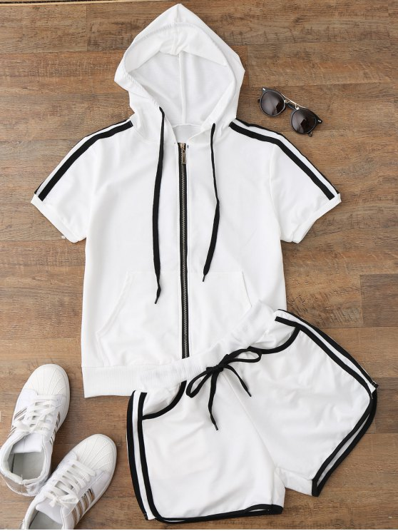 shop Side Stripe Hooded Top and Shorts Set - WHITE L
