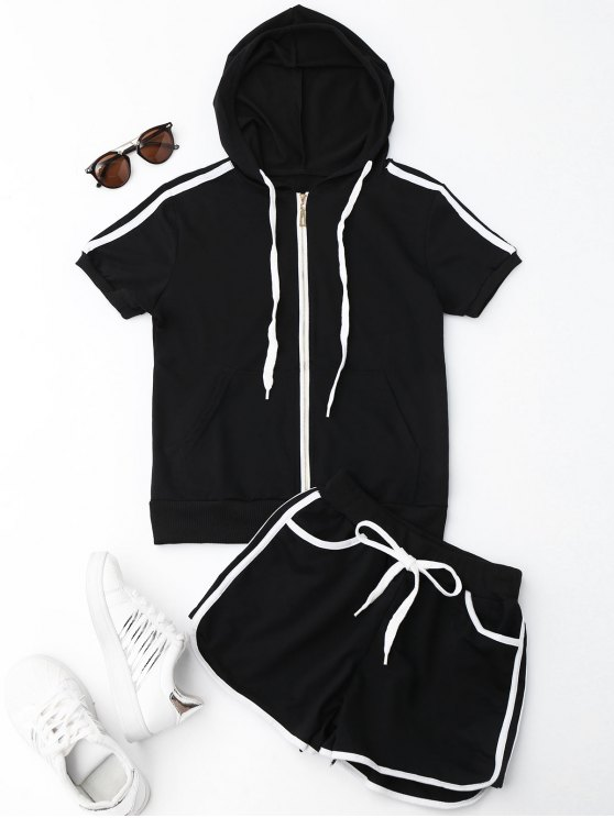 trendy Side Stripe Hooded Top and Shorts Set - BLACK L