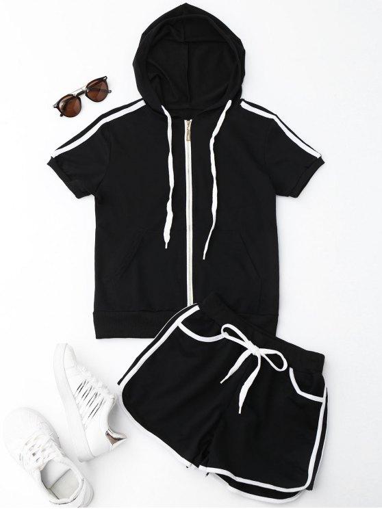 Side Stripe con capucha y pantalones cortos Set - Negro L