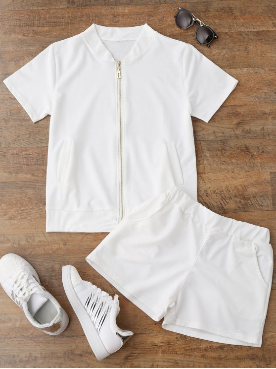 fancy Zip Up Top and Shorts Sport Suit - WHITE L