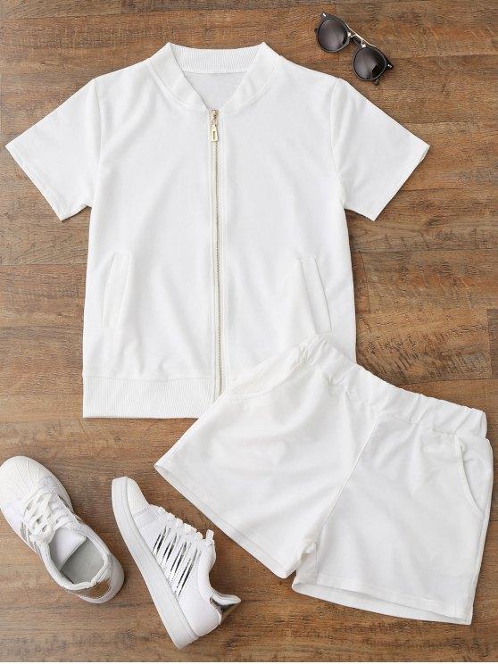unique Zip Up Top and Shorts Sport Suit - WHITE M