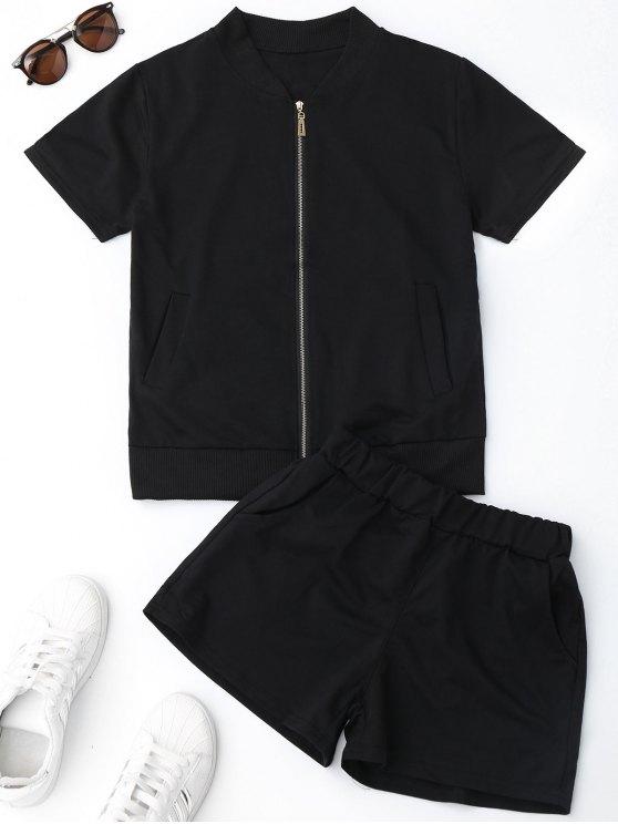 Zip Up Top y traje de deporte de pantalones cortos - Negro L
