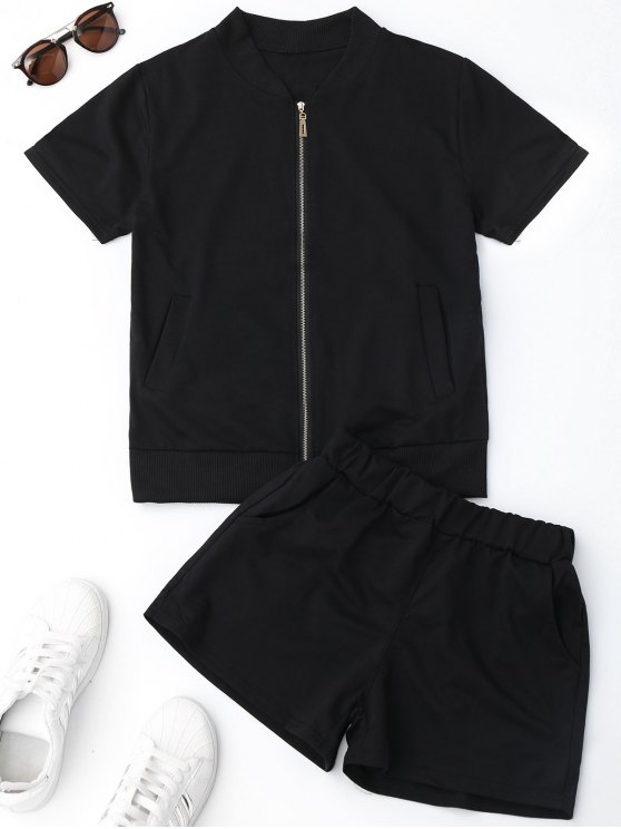 Zip Up Top y traje de deporte de pantalones cortos - Negro M