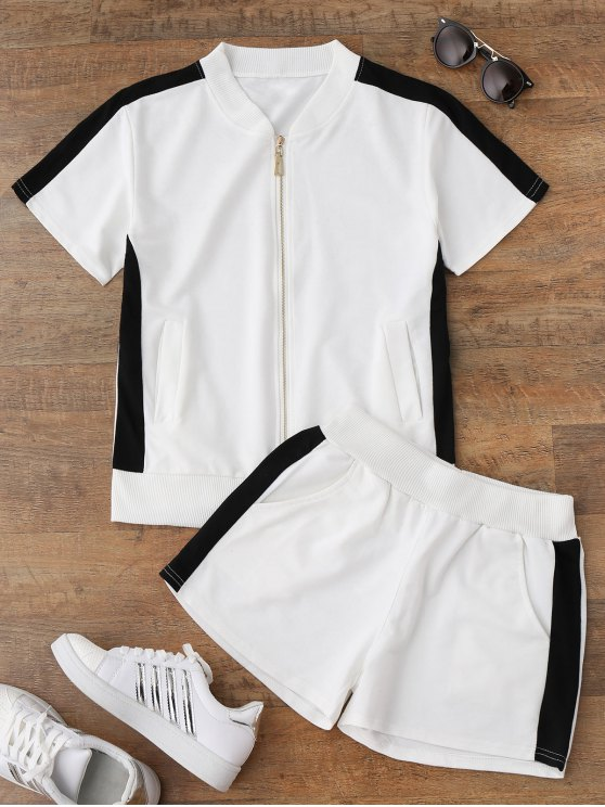ladies Two Tone Top and Shorts Sweat Suit - WHITE M