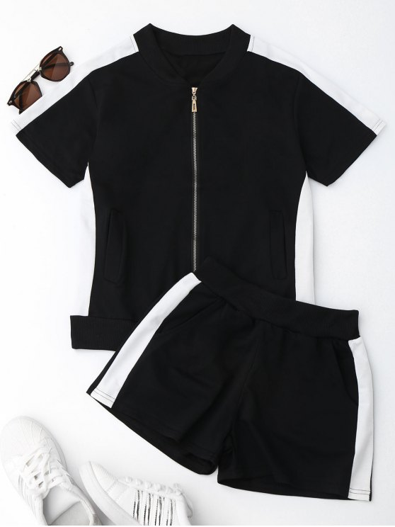 Two Tone Top e Shorts Sweat Suit - Preto M