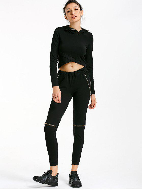 fashion Asymmetric Crossover Hoodie with Jogger Pants - BLACK M