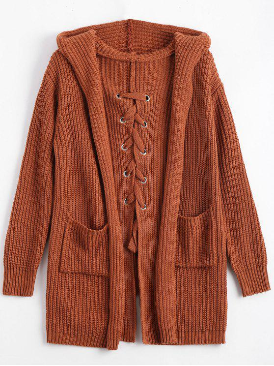 Back Lace Up Hooded Cardigan With Pockets BROWN: Sweaters ONE SIZE ...