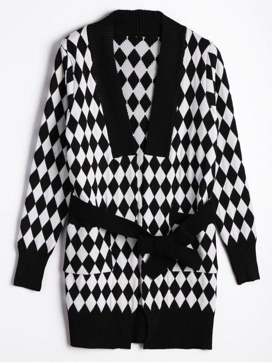 chic Belted Contrasting Diamond Cardigan - WHITE AND BLACK ONE SIZE