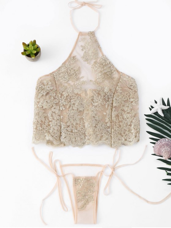 Halter Floral Mesh Lingerie Set - Teint TAILLE MOYENNE