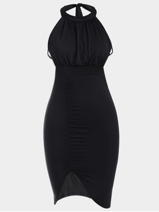affordable Backless Ruched Slit Bodycon Club Dress - BLACK S