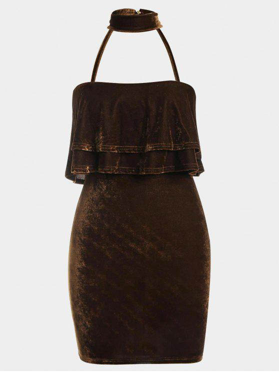 women Tiered Bodycon Velvet Choker Dress - COFFEE M