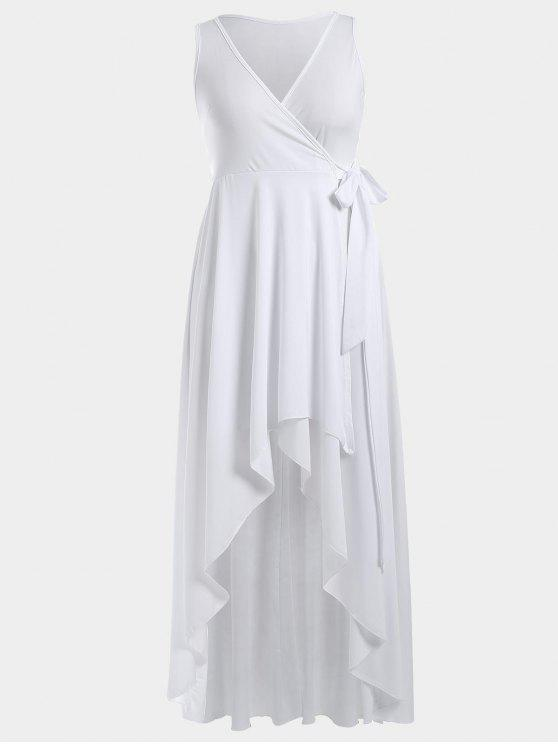 sale High Low Plunge Wrap Maxi Prom Dress - WHITE M