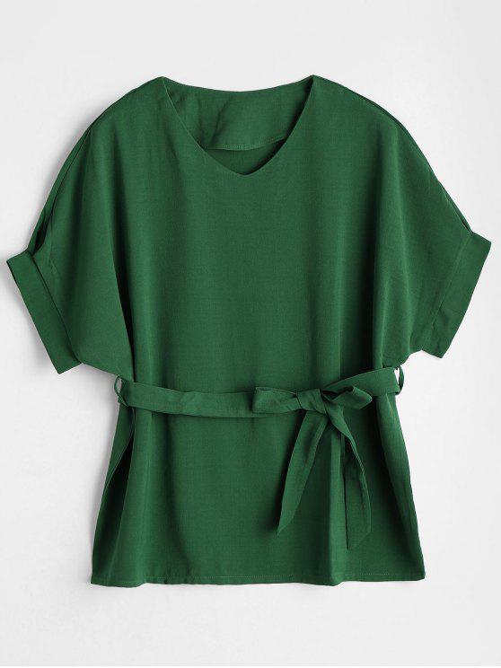 بلوزة غارق الرقبة مربوط - أخضر XL