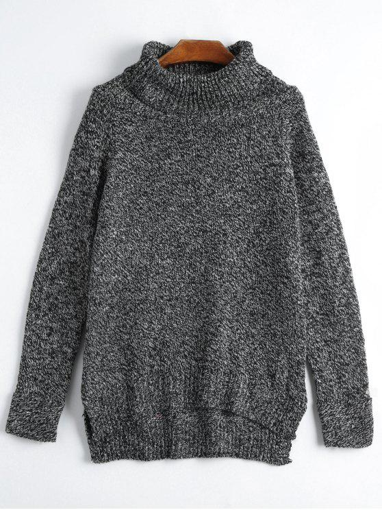 fashion Turtleneck Side Slit Sweater - BLACK ONE SIZE