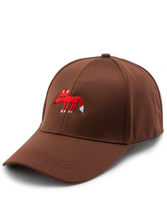 lady Cartoon Tiny Fox Embroidery Baseball Hat - BROWN
