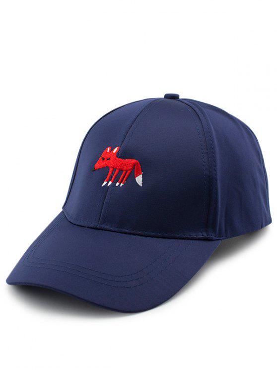 Karikatur-kleiner Fox-Stickerei-Baseball-Hut - Schwarzblau