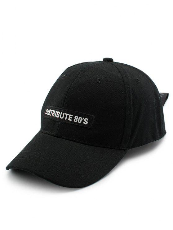 Larga cola larga letras embellecido sombrero de béisbol - Negro