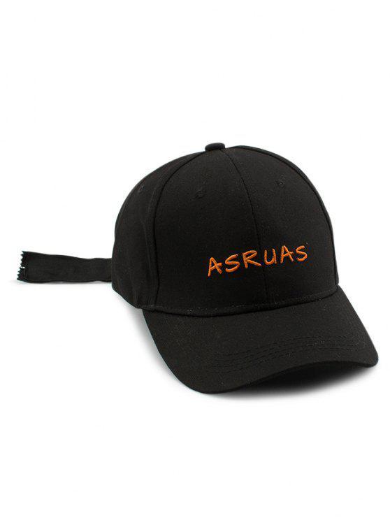 Cartas de bordado con cremallera de cola larga Hat de béisbol - Negro