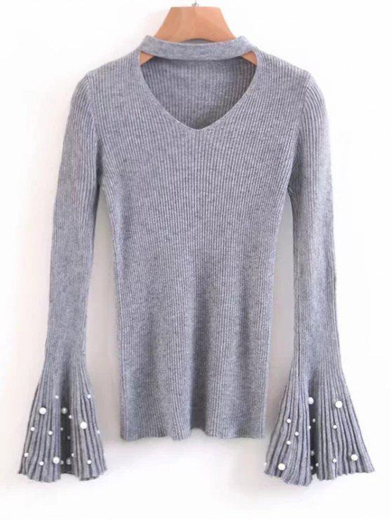 shop Flare Sleeve Faux Pearl Choker Sweater - GRAY ONE SIZE