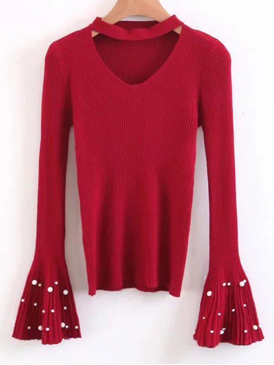 shops Flare Sleeve Faux Pearl Choker Sweater - RED ONE SIZE