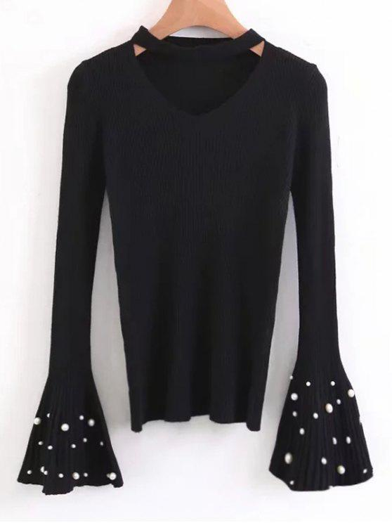 latest Flare Sleeve Faux Pearl Choker Sweater - BLACK ONE SIZE