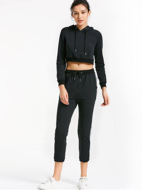 Sudadera sport con cordones y pantalones - Negro S