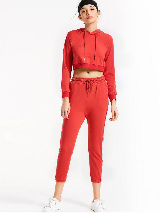 ladies Sporty Drawstring Hoodie with Pants - RED S