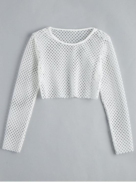 online Fishnet Long Sleeve Crop Blouse - WHITE S