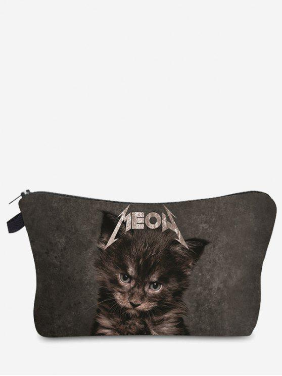 new 3D Cat Printed Makeup Bag - GRAY
