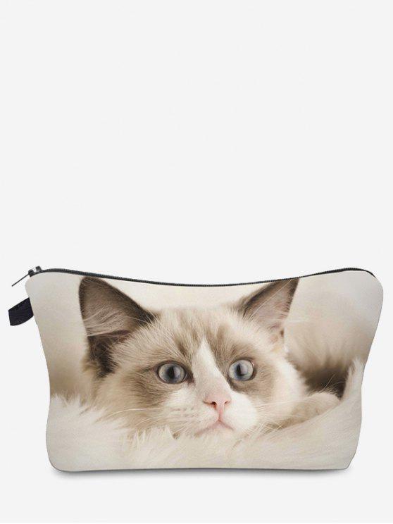 3D Katze bedruckte Make-up Tasche - Beige (Weis)