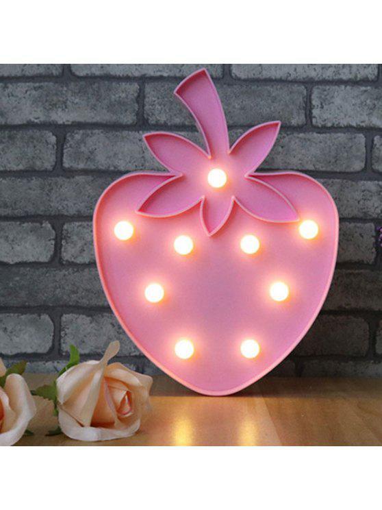 رائعة الفراولة شكل الديكور ليلة الخفيفة - وردي فاتح