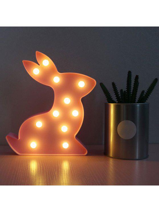 شكل الأرنب الديكور ليلة الخفيفة - وردي فاتح