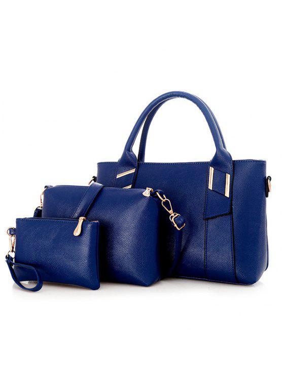 جلد صناعي 3 قطع حقيبة يد - أزرق