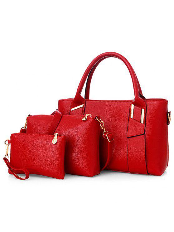 جلد صناعي 3 قطع حقيبة يد - أحمر