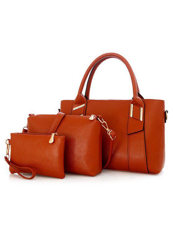 جلد صناعي 3 قطع حقيبة يد - بنى