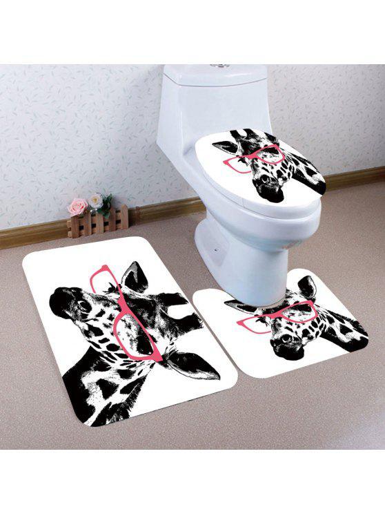 Giraffe Pattern Nonslip 3pcs Bath Toilet Mats Set White And Black