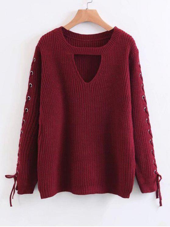 Lace Up Chunky Choker Sweater - Vermelho Um Tamanho
