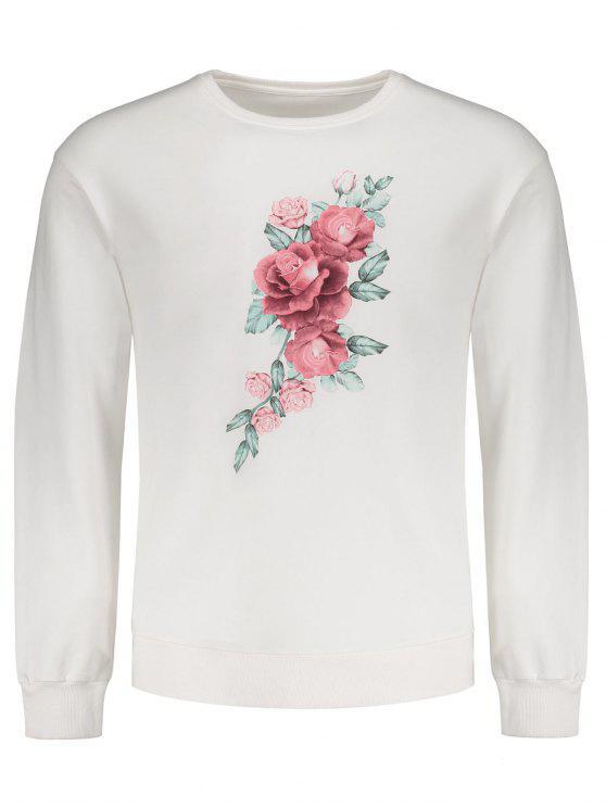 سويت شيرت بلوفر طباعة الأزهار - أبيض L
