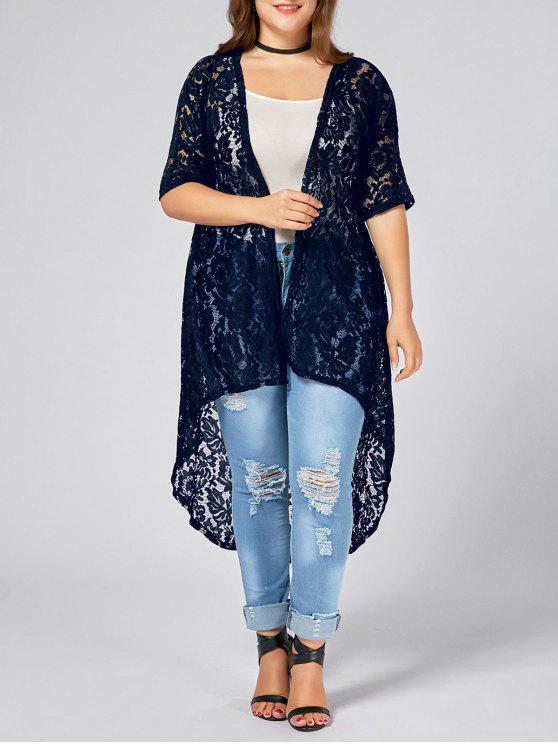 lady Plus Size Lace Crochet Long Open Front Cardigan - PURPLISH BLUE XL